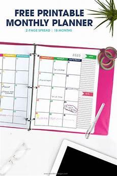 Planner Template 2020 2019 2020 Monthly Calendar Planner Free Printable
