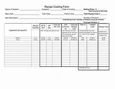 Standard Form Recipe Recipe Costing Form