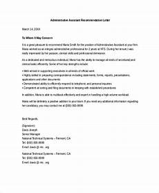 Letter Of Recommendation Administrative Assistant Free 20 Sample Letter Of Recommendation In Ms Word Pdf