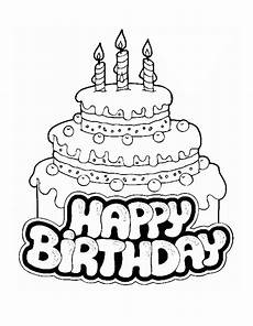 birthday cake coloring pages free large images happy