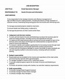 Retail Worker Job Description Free 9 Sample Operations Manager Job Descriptions In Pdf