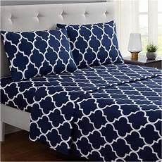 mellanni bed sheet set navy blue brushed