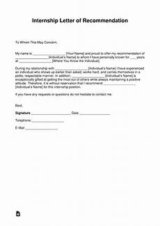 Internship Recommendation Letter Sample Free Recommendation Letter For Internship With Samples