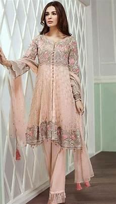 Baby Farooq Design Beutifull Chiffon Dress By Jazmin In Baby Pink Color Model