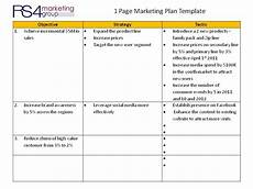 1 Page Marketing Plan One Page Marketing Plan Rs4