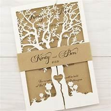 E Invitation Design Laurel Tree With Belly Band Wedding Invitation Pure