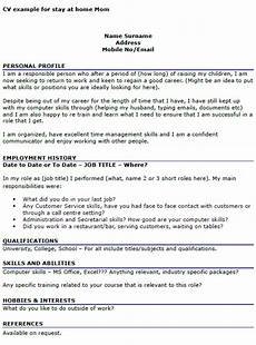 What To Put On A Cv Cover Letter Cv Example For Stay At Home Icover Org Uk