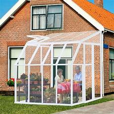 greenhouse sunroom rion sunroom clear 6 42 x 8 5 ft lean to white frame