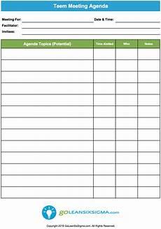 Templates For Agendas Team Meeting Agenda Goleansixsigma Com