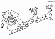 Ausmalbild Weihnachtsmann Mit Schlitten Weihnachtsmann Im Schlitten Mit Rentieren Ausmalen