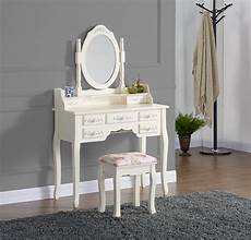 dressing table with stool white black ivory silver oval