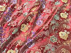 fabric crafts silk floral green purple brocade embroidered faux silk