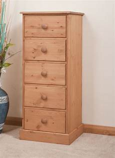 solid pine narrow chest of drawers 5 drawer handmade