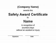 Safety Award Certificate Template Safety Award Certificate Free Word Templates