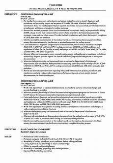 Coding Resume Certified Coding Specialist Resume Samples Velvet Jobs
