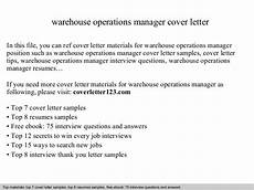 Cover Letter For Maintenance Manager Warehouse Operations Manager Cover Letter
