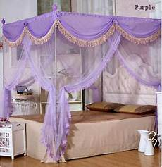 purple luxury 4 post bed curtain canopy mosquito net all
