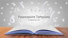 Templets For Ppt Open Book On Desk Powerpoint Template Slidesbase