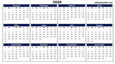 2020 Yearly Calendar Word 2020 Calendar Printable Template Holidays Word Excel