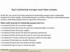 Relationship Manager Cover Letter Top 5 Relationship Manager Cover Letter Samples