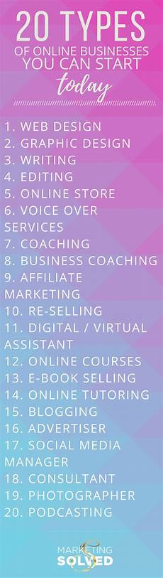 Types Of Businesses 20 Types Of Online Businesses You Can Start Today