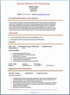 Cv Template For Work Experience Social Worker Cv Example
