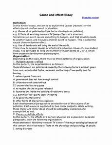 Cause And Effect Essay Format Cause And Effect Essay