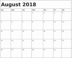 Printable Calendar August August 2018 Calendar Printable 8 Free Templates Word