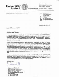 Letter Of Recommendation For Masters Program Masters Reference Letters