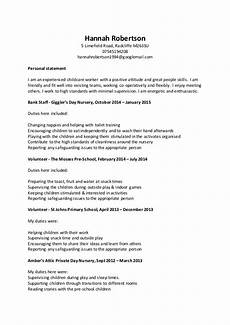 Care Worker Personal Statement Childcare Cv