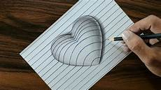 Drawing 3d 3d Heart On Line Paper Trick Art Drawing Youtube