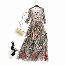 embroidery dresses runway floral bohemian flower