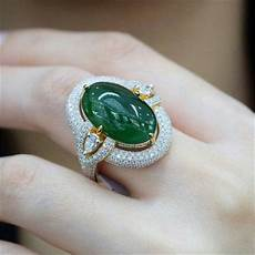 Light Green Stone Rings Luxury Dark Green Stone Ring Silver Gold Color Ring White