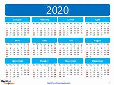 Free 2020 Calendars Printable Calendar 2020 Template Free Powerpoint Templates