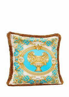 versace le vase baroque silk cushion gold turquoise