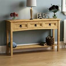 corona 3 drawer console table shelf mexican solid pine