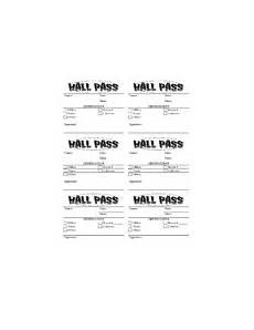Hall Pass Template Hall Pass Template Teaching Resources Teachers Pay Teachers