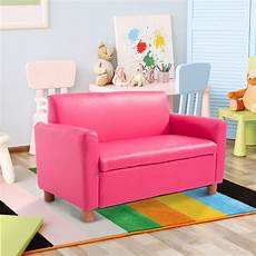 pink kid toddler sofa armchair recliner pu leather