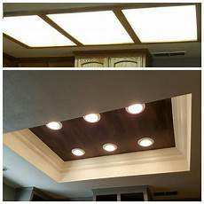 Converting Fluorescent Kitchen Lights Florescent Lighting Makeover Vinyl Floor Wood Planks