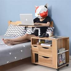 wooden lift top laptop end table bedside stand