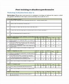 Training Evaluation Questions Free 25 Sample Training Evaluation Forms In Pdf Ms Word