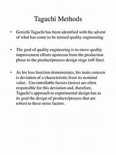 Taguchi Method Ppt Taguchi Methods Powerpoint Presentation Id 170059