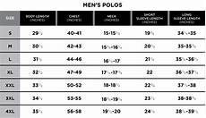 Lululemon Mens Size Chart Size Chart Greg Norman Collection