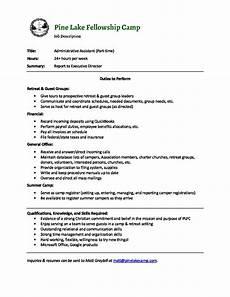 Senior Administrative Assistant Job Description Job Description Administrative Assistant Pine Lake