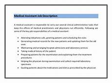 Medical Assistant Duties And Responsibilities List 2016 Medical Assistant Duties Resume