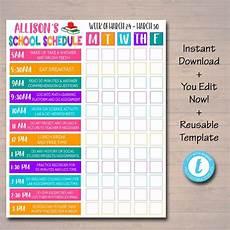 Schedule Chart Template Homeschool Schedule Weekly Checklist Editable Diy