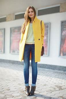 Light Yellow Coat Yellow Coat With Brown Accessories Washed Roll Up Jeans