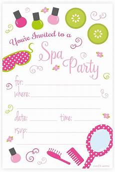 Spa Party Invitation Wording Spa Birthday Party Invitations Fill In Style 20 Count