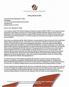 Air Force Letter Of Recommendation For Special Duty Assignment Mrff Urges U S Air Force Special Operations Commander To