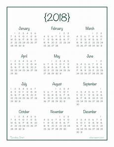 At A Glance Yearly Calendar 2018 Year At A Glance Calendar Free Printable At A